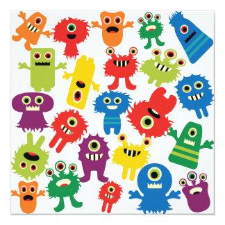 Niedliches lustiges buntes Monster-Muster Quadratische 13,3 Cm Einladungskarte