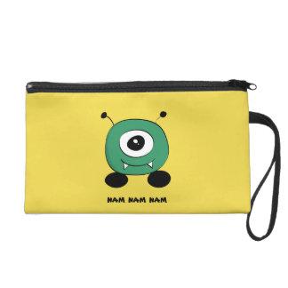 Niedliches lustiges grünes alien wristlet handtasche