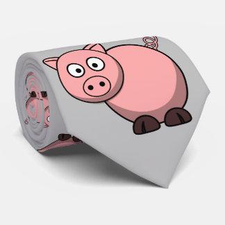 niedliches lustiges rosa Cartoonschwein für Bauern Krawatte