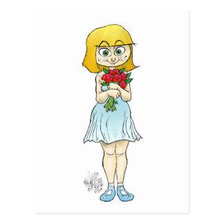 Niedliches Mädchen, das Blumen auf einer Postkarte