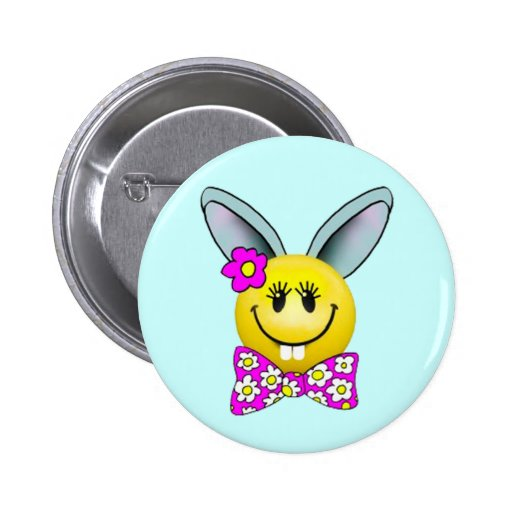 Niedliches Mädchen-Häschen-Smiley-Button
