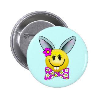 Niedliches Mädchen-Häschen-Smiley-Button Runder Button 5,1 Cm