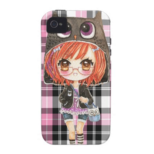 Niedliches Mädchen in kawaii Eule Hoodie auf rosa  Vibe iPhone 4 Cover