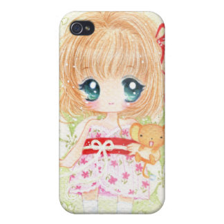 Niedliches Mädchen mit kawaii plushie iPhone 4 Schutzhülle