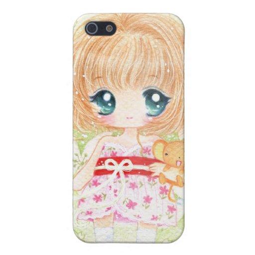 Niedliches Mädchen mit kawaii plushie iPhone 5 Hüllen