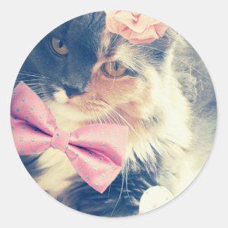 Niedliches Maine-Waschbär-Kätzchen-Retro Art Runder Aufkleber