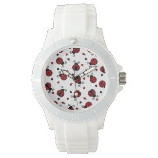 Niedliches Marienkäfer-und Herz-Muster Armbanduhr
