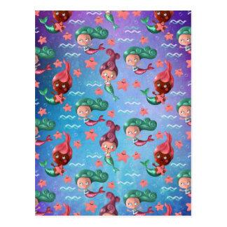 Niedliches Meerjungfrau-Muster Postkarte