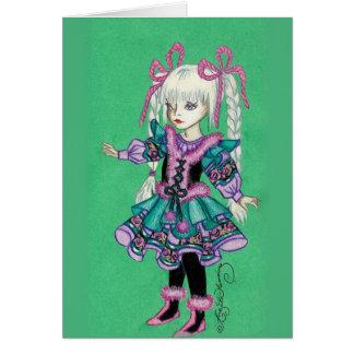Niedliches Modemädchen mit blonden Borten Grußkarte