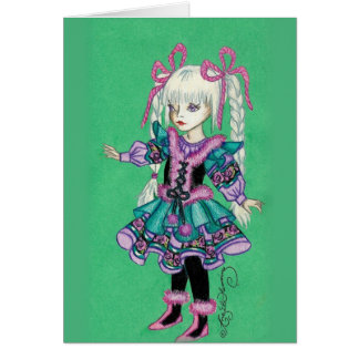 Niedliches Modemädchen mit blonden Borten Karten