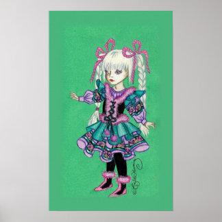 Niedliches Modemädchen mit blonden Borten Posterdruck