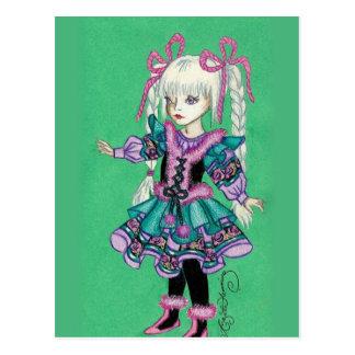 Niedliches Modemädchen mit blonden Borten Postkarte