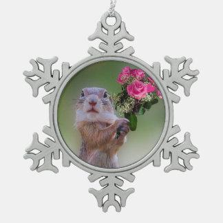 Niedliches Murmeltier Schneeflocken Zinn-Ornament