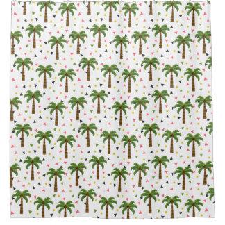 Niedliches Muster mit Palmen und geometrischen Duschvorhang