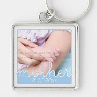 Niedliches Mutter-TagesFoto-blaue weiße Silberfarbener Quadratischer Schlüsselanhänger