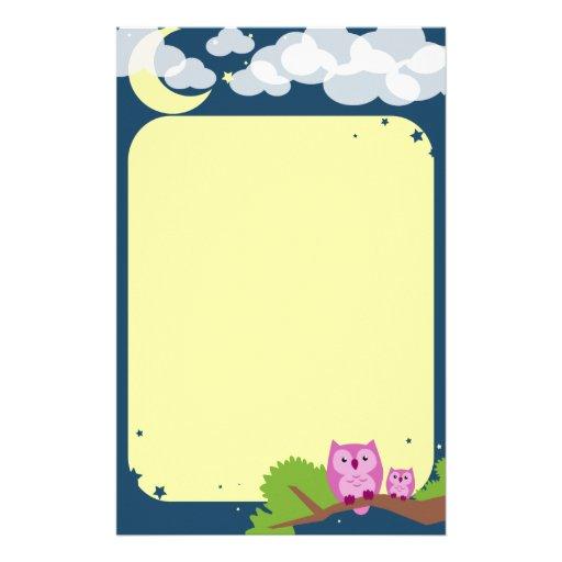 Niedliches Nachteulen-Briefpapier Büropapier