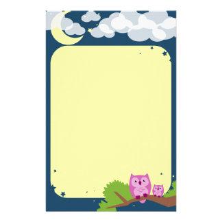 Niedliches Nachteulen-Briefpapier Personalisierte Büropapiere