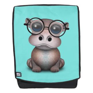 Niedliches Nerdy Baby-Flusspferd-tragende Gläser Rucksack