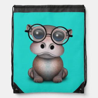Niedliches Nerdy Baby-Flusspferd-tragende Gläser Sportbeutel