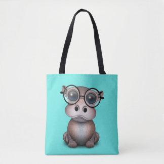 Niedliches Nerdy Baby-Flusspferd-tragende Gläser Tasche