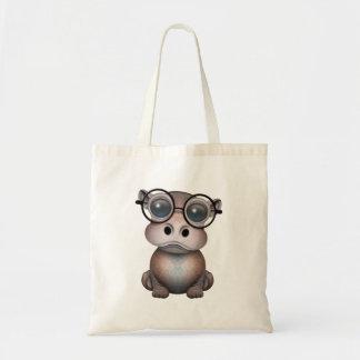 Niedliches Nerdy Baby-Flusspferd-tragende Gläser Tragetasche