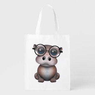 Niedliches Nerdy Baby-Flusspferd-tragende Gläser Wiederverwendbare Einkaufstasche