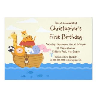 Niedliches Noahs Arche-Baby-Tier-Geburtstags-Party 12,7 X 17,8 Cm Einladungskarte