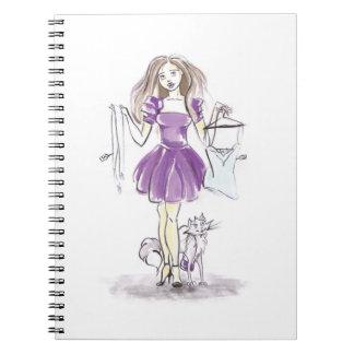 Niedliches Notizbuch-Mode-Mädchen-und Notizblock
