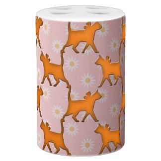 Niedliches orange Katzen-Muster Badset