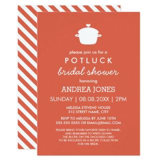Niedliches orange Weiß Potluck Brautparty-  12,7 X 17,8 Cm Einladungskarte
