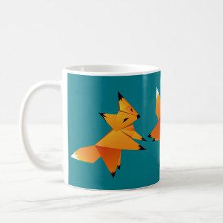 Niedliches Origami Foxes Gewohnheit Kaffeetasse
