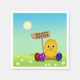 Niedliches Ostern-Küken mit Zeichen - Papierserviette