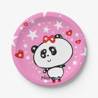 Niedliches Panda-Bärn-lustiges personalisiertes Pappteller