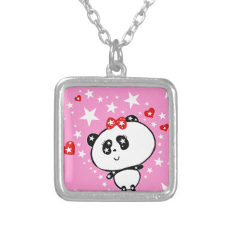 Niedliches Panda-Bärn-lustiges personalisiertes Versilberte Kette