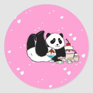 Niedliches Panda-Bärn-Picknick Runder Aufkleber