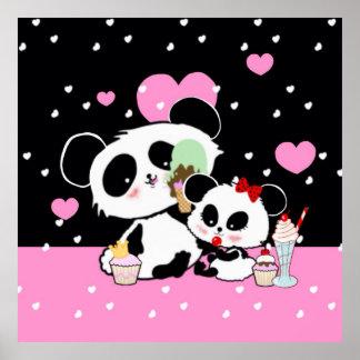 Niedliches Pandabärn-Picknickplakat Poster