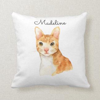 Niedliches personalisiertes Brown-Katzen-Kissen Kissen