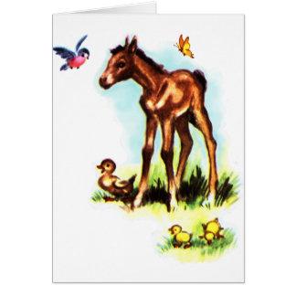 Niedliches Pferdepony-Baby-Fohlen Karte