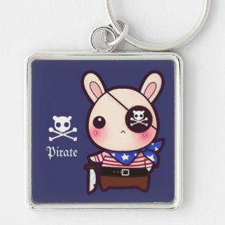 Niedliches Piratenhäschen Silberfarbener Quadratischer Schlüsselanhänger