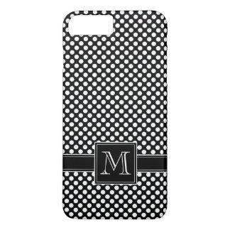 Niedliches Polka-Punkt-Muster und Monogramm iPhone 7 Plus Hülle
