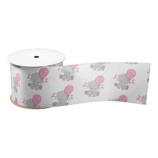 Niedliches Polka-Punkt-rosa Elefant-Mädchen-Baby Satinband