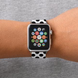 Niedliches Polka-Punkt-Schwarzweiss-Muster Apple Watch Armband
