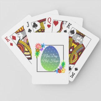 Niedliches Polkapunktei mit Blumenwreath Spielkarten