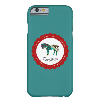 Niedliches Pony mit Blauem und Rotem Barely There iPhone 6 Hülle