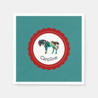 Niedliches Pony mit Blauem und Rotem Papierservietten