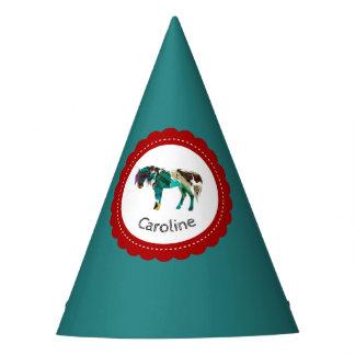 Niedliches Pony mit Blauem und Rotem Partyhütchen