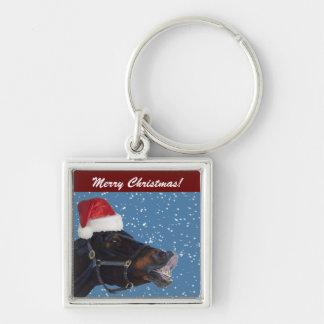 Niedliches Pony-Weihnachten Silberfarbener Quadratischer Schlüsselanhänger