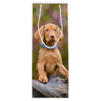 Niedliches puppyeyed Ungar Vizsla Hundewelpen-Foto Geschenktüte Für Weinflaschen