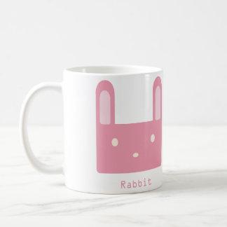 Niedliches quadratisches rosa Kaninchen Kaffeetasse