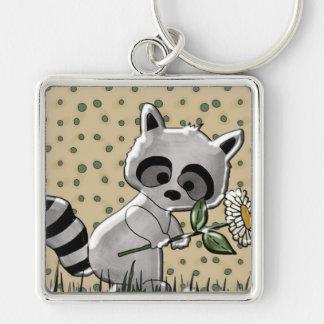Niedliches Raccoon-Quadrat-Schlüsselkette Silberfarbener Quadratischer Schlüsselanhänger